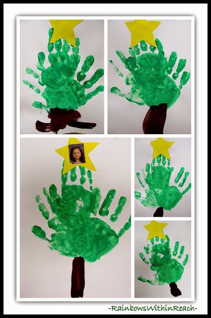 Painted Hand Prints as Christmas Trees at RainbowsWithinReach