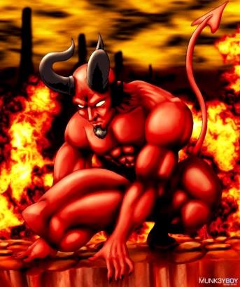 Ilustración del Diablo o Satanás rodeado de fuego