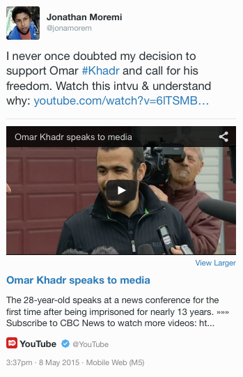Omar Khadr speaks to media