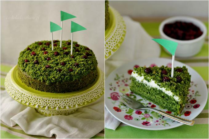 zielone ciasto, ze szpinakiem, leśny mech