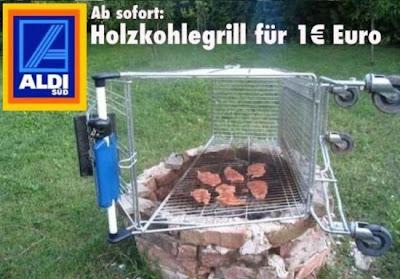 ALDI Holzkohlegrill für 1 Euro Einkaufswagen