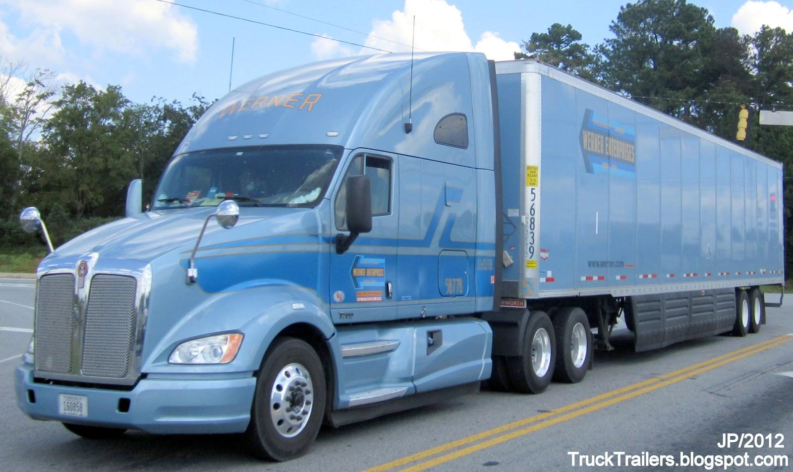 Werner enterprises omaha nebraska kenworth blue sleeper cab truck dry van skirted trailer werner trucking company