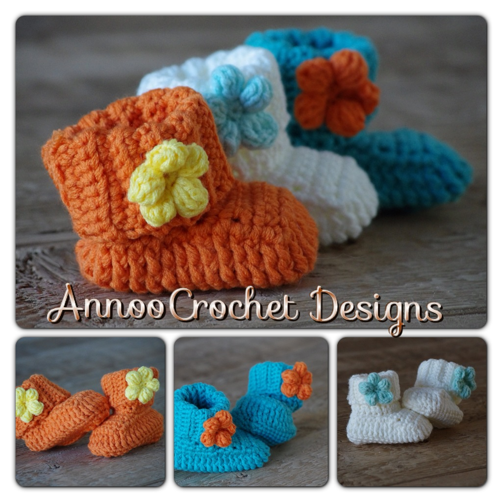 Annoos Crochet World Spring Flower Baby Booties Free Pattern