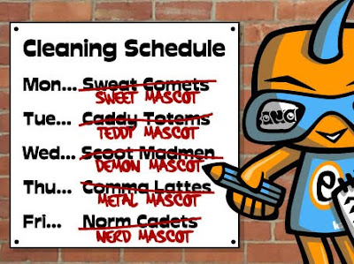 Did you unscramble the mascot anagrams on the cleaning schedule?