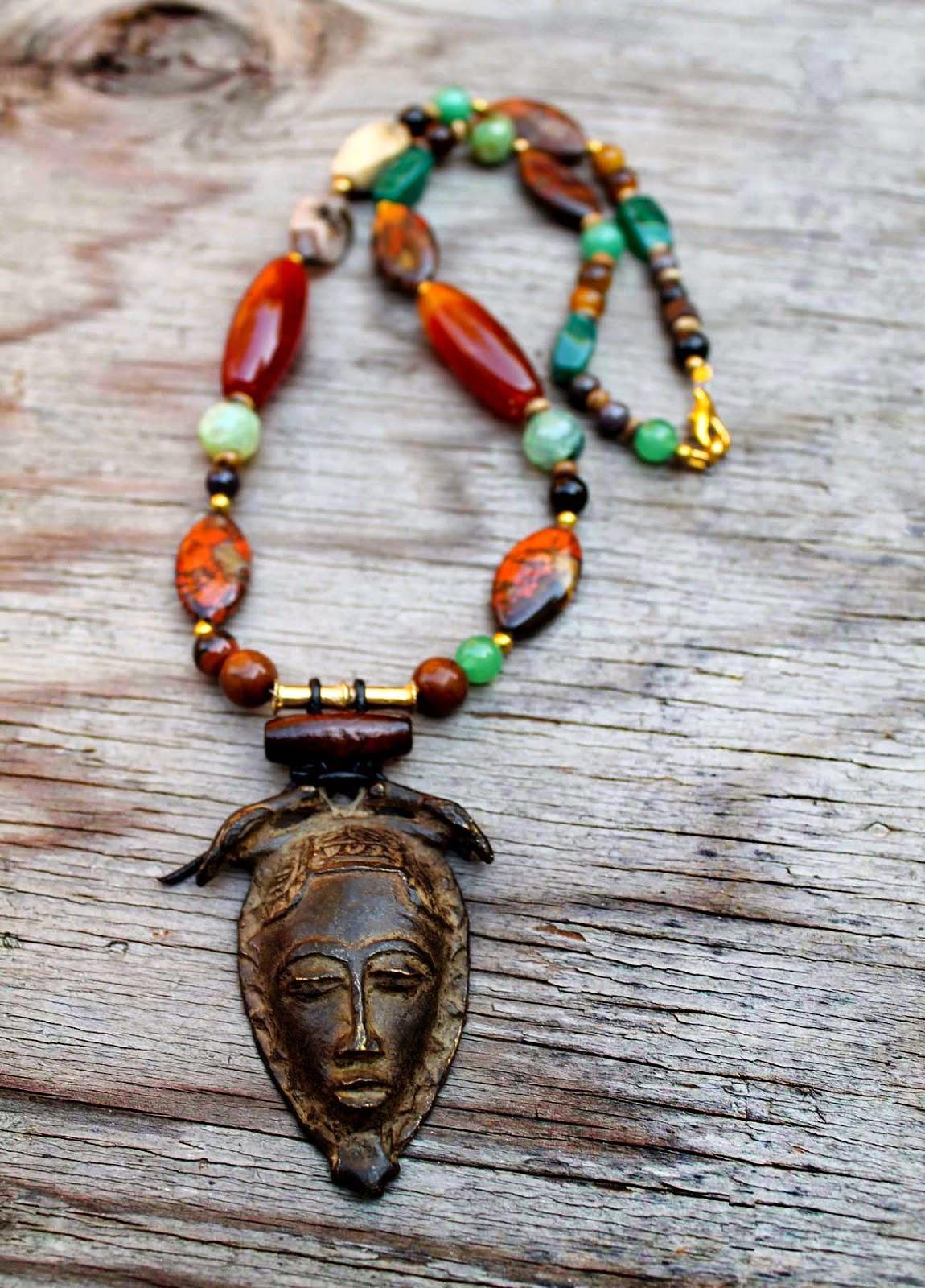 mens vintage brass african mask pendant