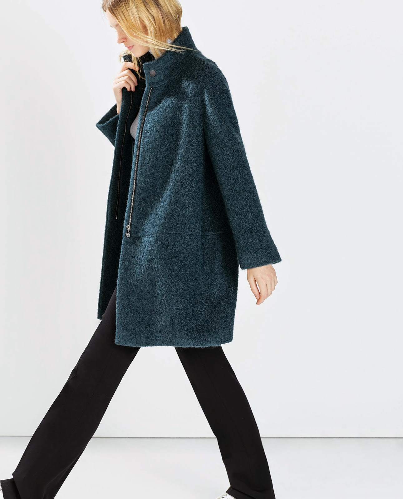 zara teal coat, zara petrol coat,