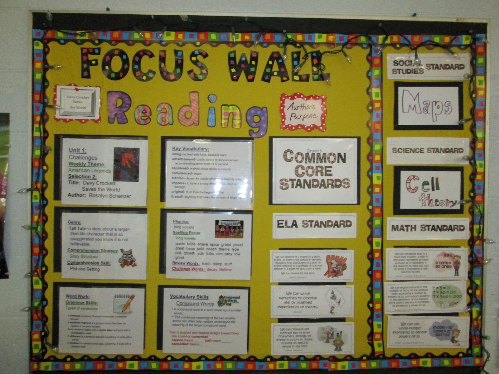 5th Grade Social Studies Classroom Decorations ~ Steve s classroom fifth grade focus wall with common core
