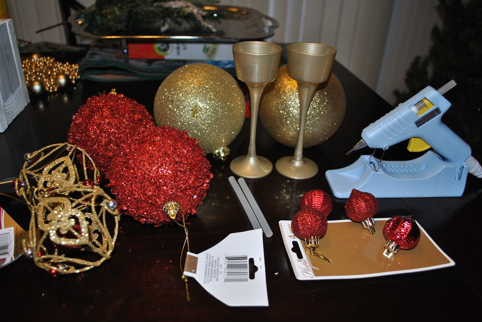 Large round christmas ornaments - 3 Large Round Ornaments 3 Medium Sized Ornaments 3 Smaller Ornaments Candle Holder Spray Paint Optional Hot Glue Gun