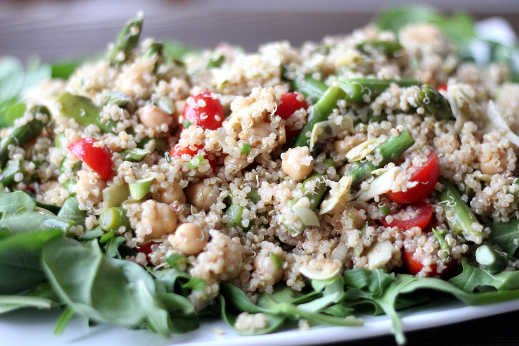 Spring Quinoa Salad with Asparagus, Chickpeas and Goat Cheese