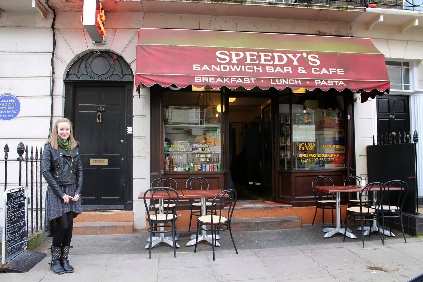 Sherlock Door 221B Baker Street and Speedy's Cafe London