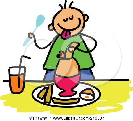 Cartoon Boy Eating Bre...