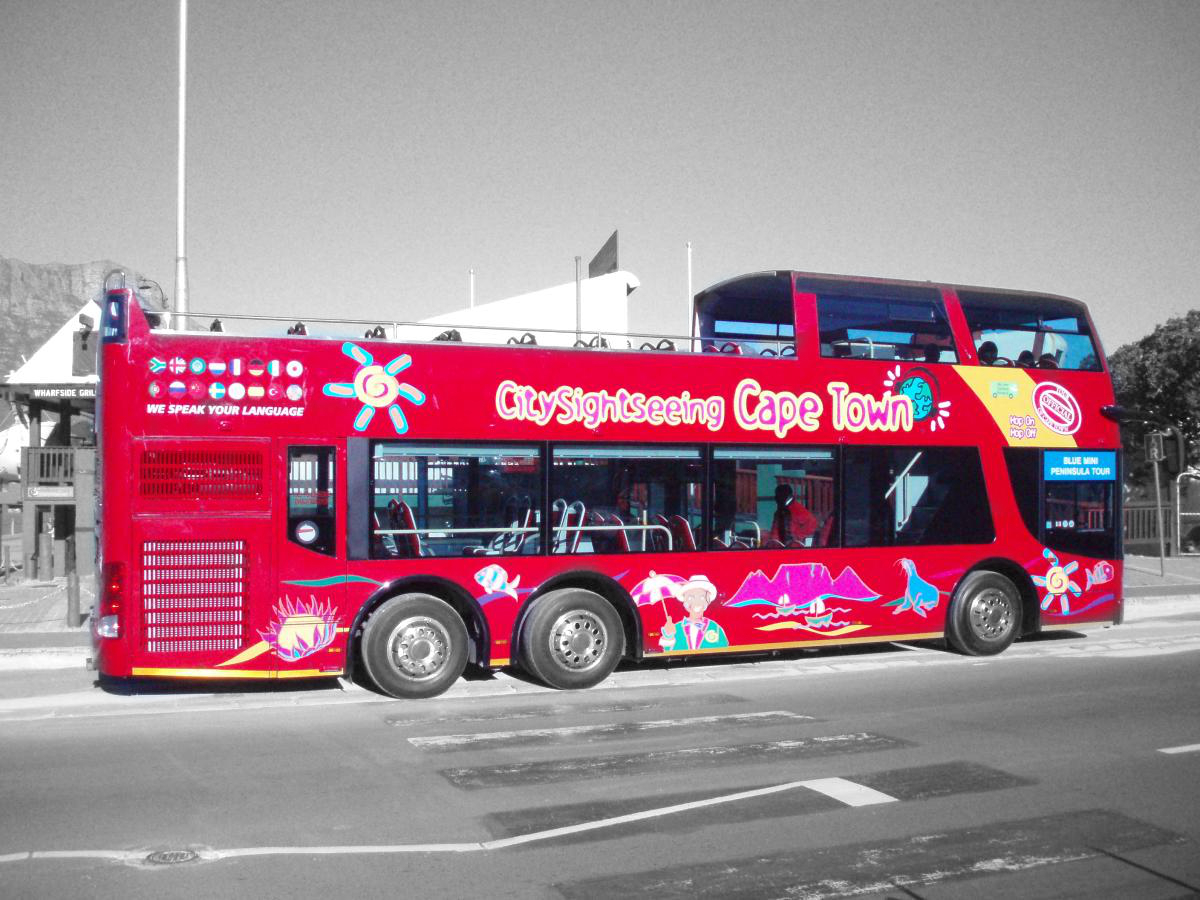 Cape Town tourist sightseeing bus Black and white photography