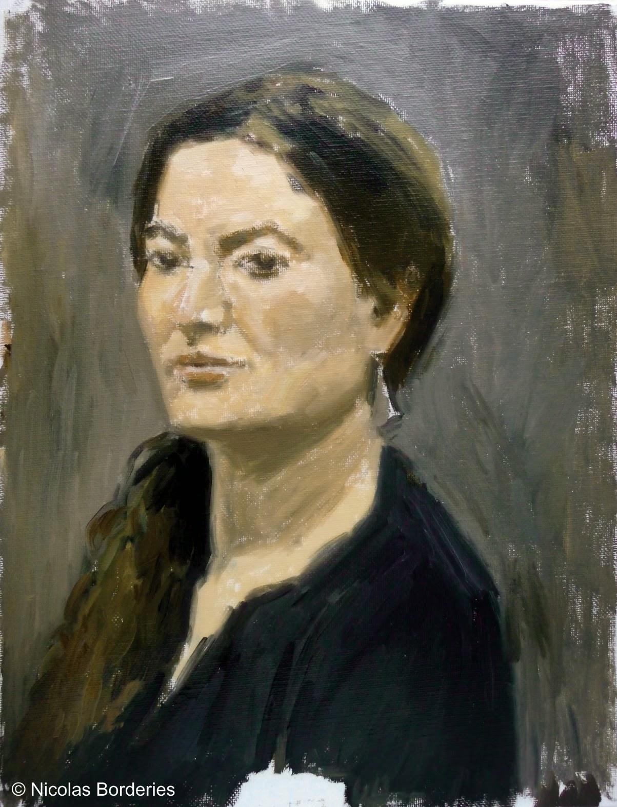 Nicolas Borderies Peintures Portrait de Tanina en trois étapes