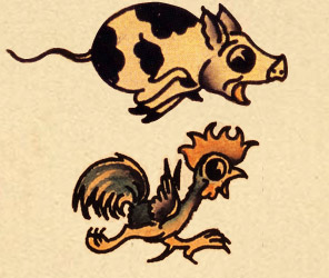 Pig and Rooster Tattoo Meaning http://believeinfairystories.blogspot.com/2013/03/tattoos-in-folklore.html
