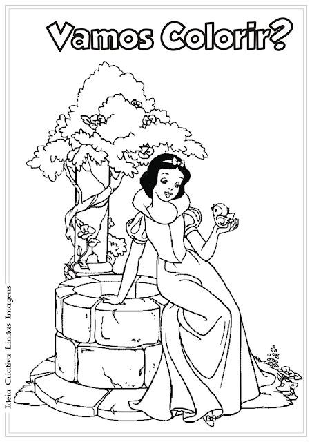 Princesa da Disney Branca de Neve para colorir