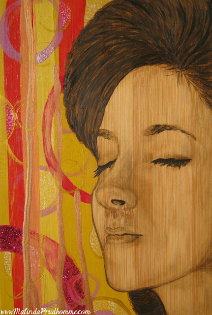 mixed media art, bamboo art, bamboo painting, mixed media artist, beauty art