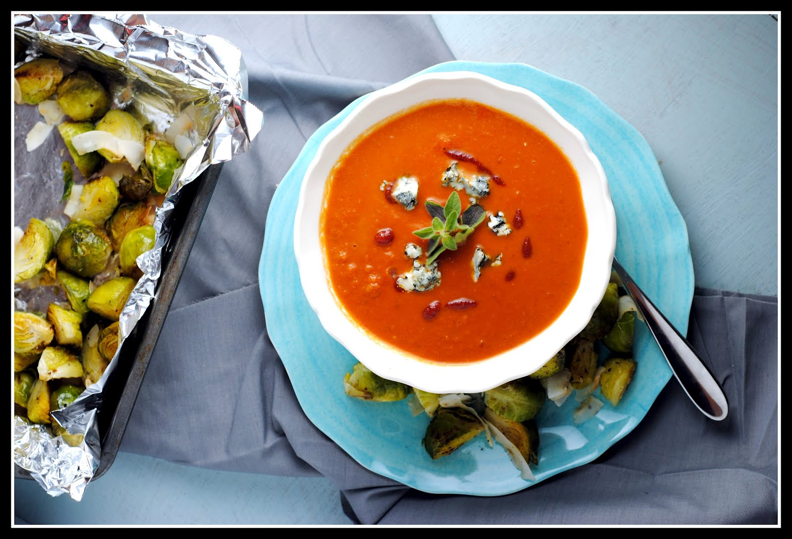tomato soup with bacon grilled cheese spicy tomato and blue cheese ...