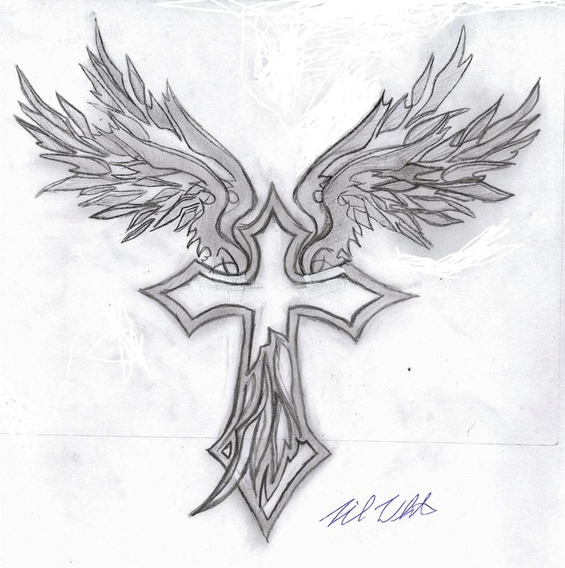 Tattoo Mania Tribal Wings Cross