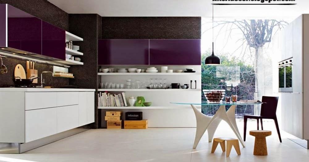 modern kitchen with sensual purple kitchens designs