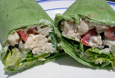chicken caesar wrap in spinach tortilla
