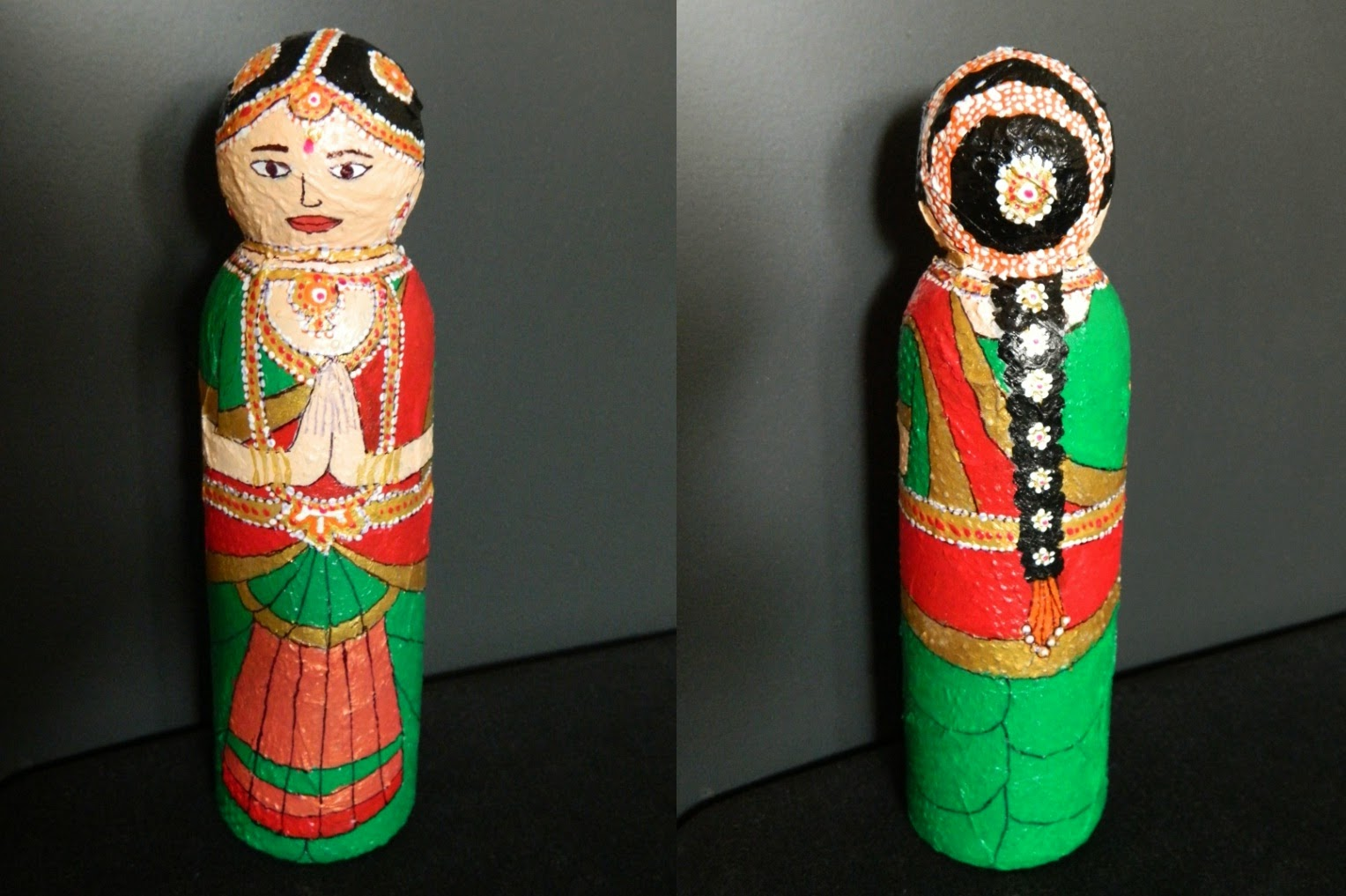 Plastic bottle doll bharat natyam yellow craft for Craft using waste bottles