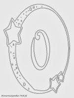Mewarnai angka 0 bergaya bulan dan bintang