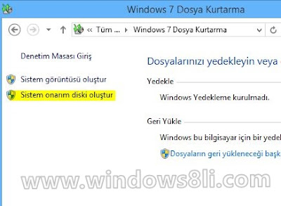 Windows 8 Onarım Diski
