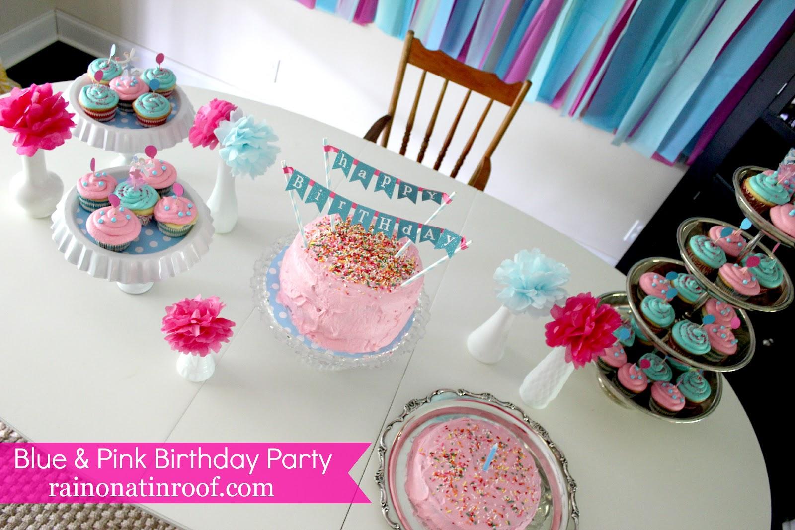 A Stylish Blue Pink 1st Birthday Party