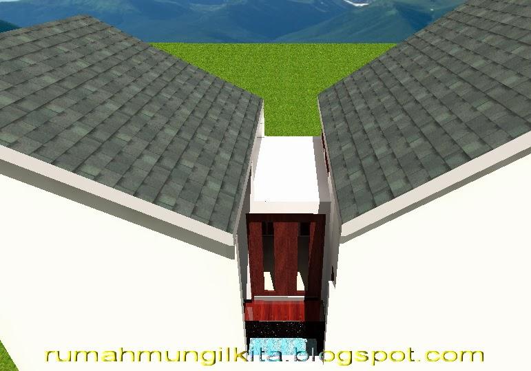 Desain rumah lebar 4 meter dengan 3 kamar tidur - taman belakang