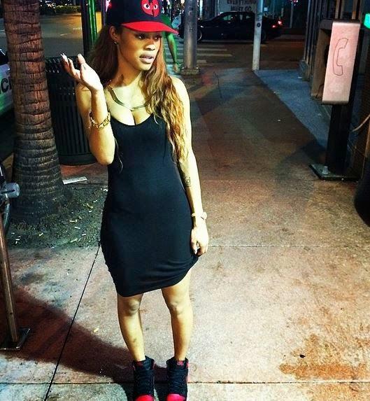 Celeb Sneaker Game: Teyana Taylor Wearing Air Jordan Bred 1's