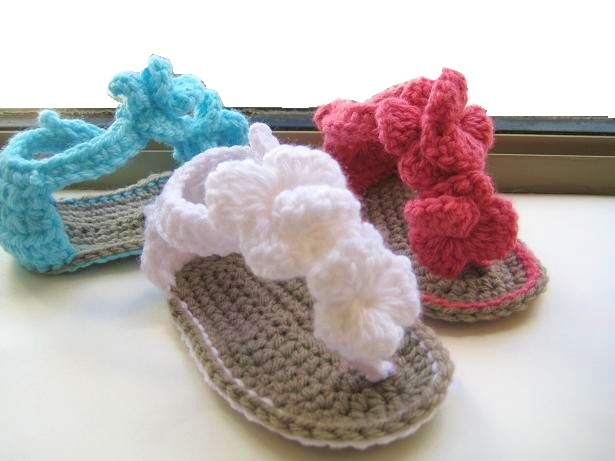 Crochet Newborn : Crochet Dreamz: Orchid Sandals Crochet Baby Booties Pattern