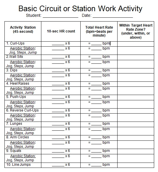 Access to Healthy Active Living PPL10 Cardiovascular Fitness – Target Heart Rate Worksheet