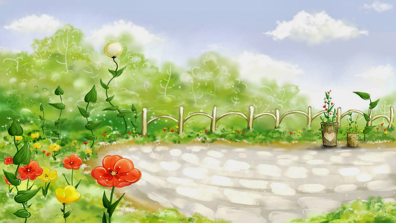 Cartoon Garden Wallpaper Free | Pic Gallery