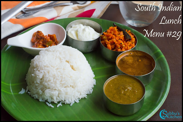 SouthIndian Lunch Menu #29 - Keerai Kuzhambu, Garlic Rasam, Carrot Poriyal,Rice, Curd and Pickle