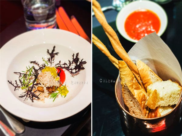 Left: Snow Crab, Celeriac, Vinegar | Right: Complimentary Bread (Culinary Bonanza)
