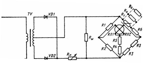 Схема электротермометрической