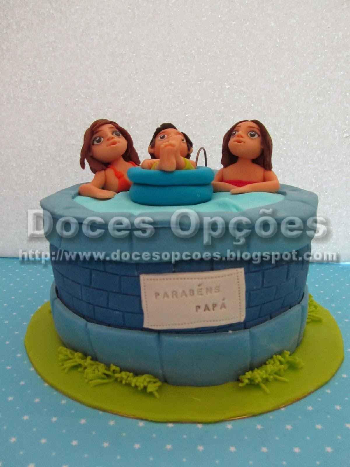 bolo decorado piscina