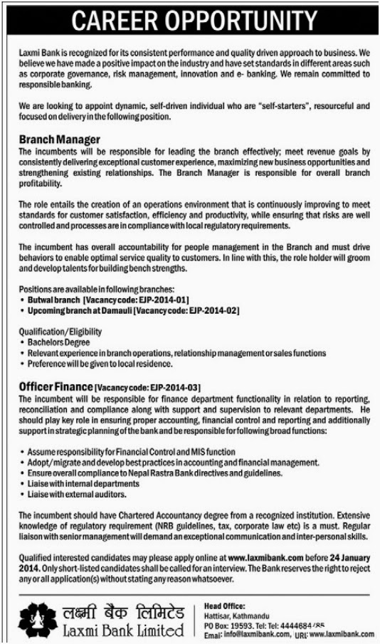 Career Opportunity at Laxmi Bank for Branch Managers and Officer