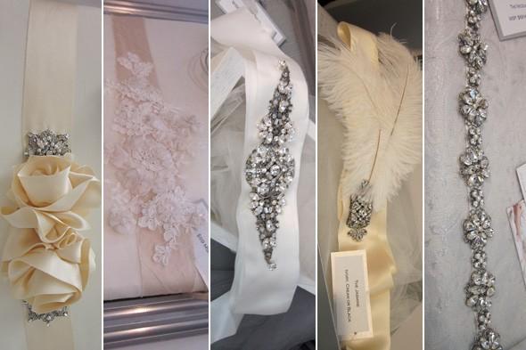 Floral Bridal Sash Wedding Belt Flower Pearl Crystal Taupe Ribbon Pink Ivory