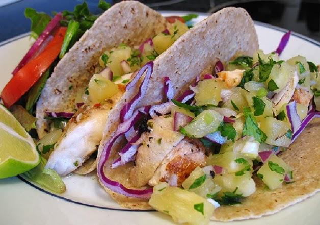 red onion southwestern fish tacos mahi mahi on a chipotle slaw served ...
