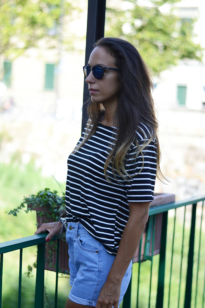 black white striped tee