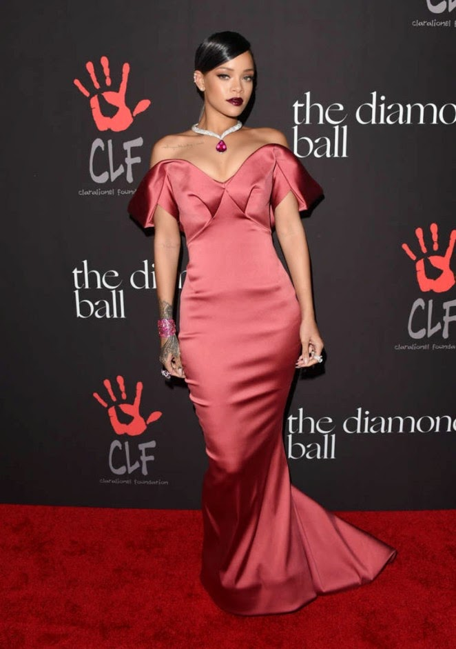 Rihanna in a Zac Posen gown at her first Diamond Ball Benefit in Beverly Hills