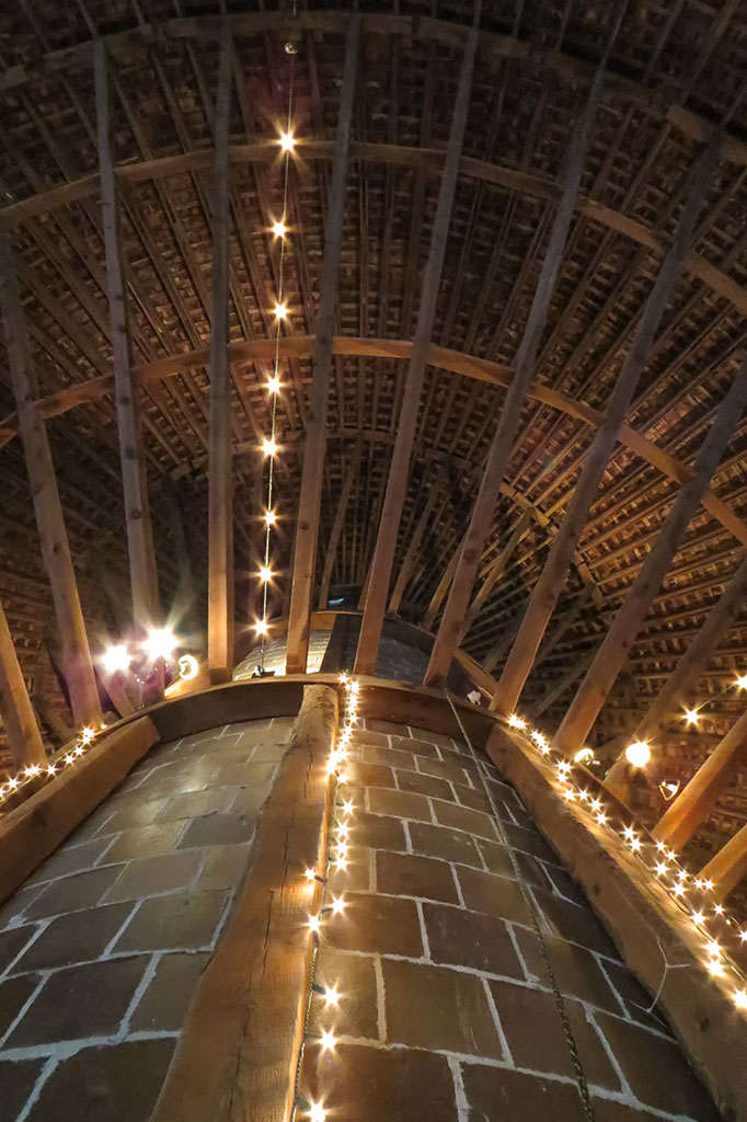 Looking up from the second floor of the Historic Round Barn