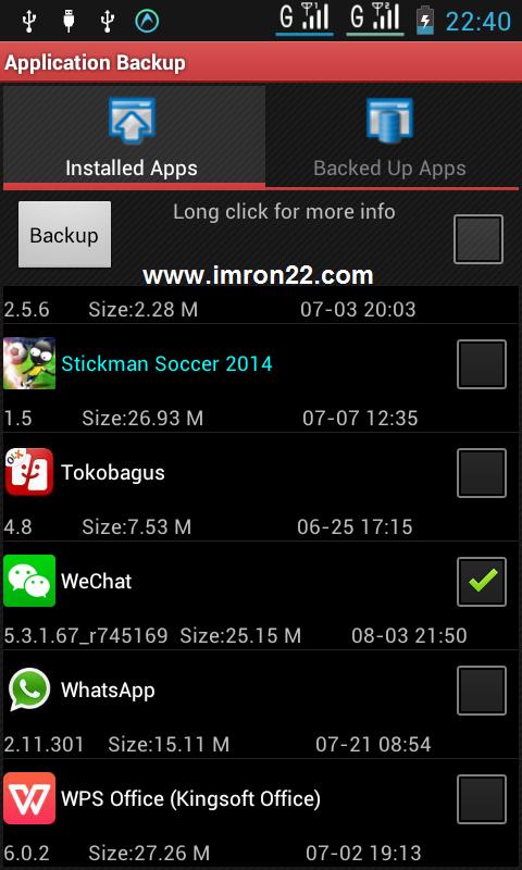 Backup file aplikasi di android dengan Astro File Manager www.imron22.com
