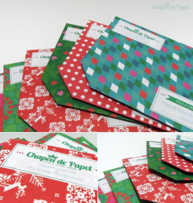 Postal de Natal Chapéu de Papel