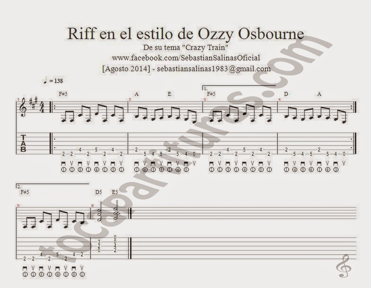 "Riff Tablautra para Guitarra de Ozzy Osbourne ""Crazy Train"" Guitar Tablature Sheet Music tab"