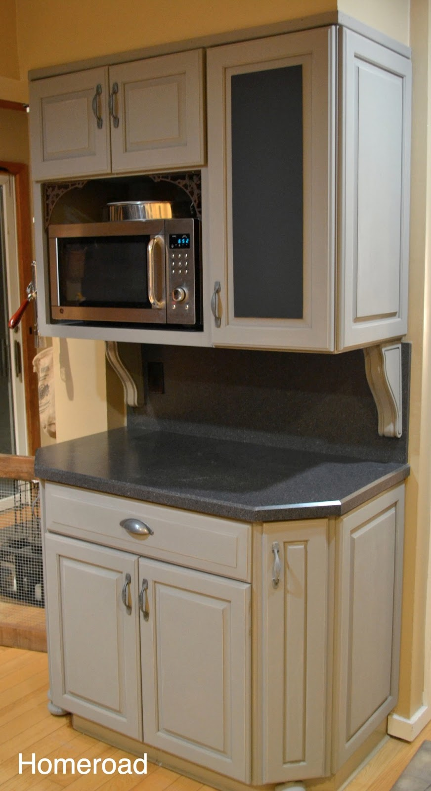 Traditional kitchen edmonton craft grey stained cabinets for Chalkboard paint kitchen cabinets