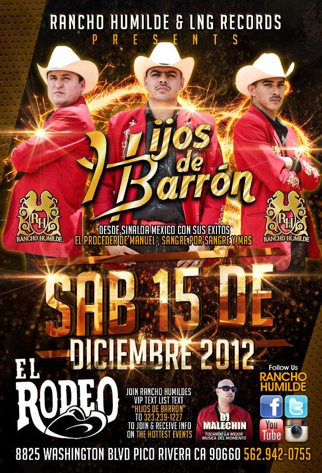 LOS HIJOS DE BARRON EN EL RODEO 15 DE DICIEMBRE