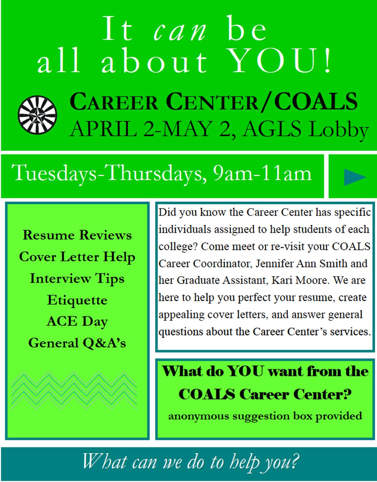 Career Center Help In AGLS Lobby All April Long