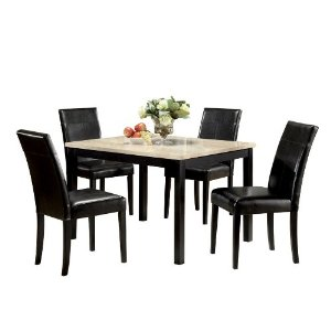 ACME Contemporary Faux Marble Dining Set